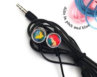Disney Ariel Little Mermaid Headphones Earphones Festival Style Universal Personalised With Glass Cabochons