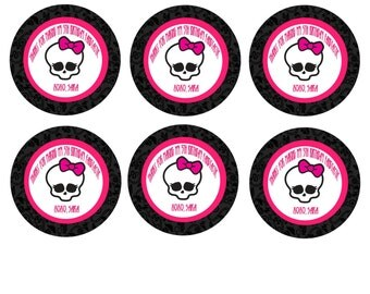 Monster High Favor tag/ Cupcake topper 3x3