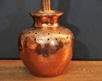 Vintage Hammered Copper Accent Lamp - Floral Stamped Copper Ginger Jar Lamp - 1960's