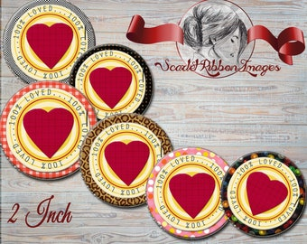 100 % Loved Cupcake Toppers - 2 INCH Circles - 12 Digital images -Two Inch circles- Cupcake toppers, gift bag tags