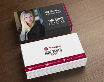 Real Estate Business Cards - Realtor Business Card - Digital File Only - Printable Business Card- Photoshop Template - Full Customization