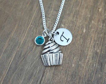Personalized Cupcake Necklace - Hand stamped Monogram Cupcake Necklace - Initial, Birthstone Necklace - Little Girl Necklace - Party Favor