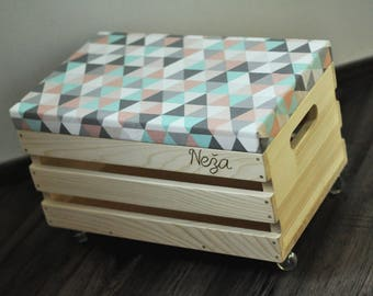 Personalized wooden storage toy box for kids