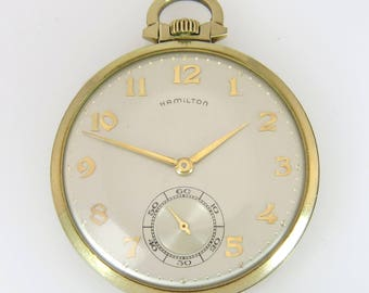 Estate Hamilton Pocket Watch 10k Gold Case 56g Inscribed Anniversary Ford 1960s