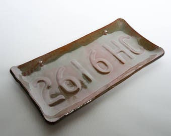 Pottery License Plate Serving Plate