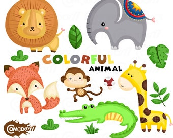 50%OFF!! Colorful Animal Clipart - Cute Clipart, Animal Clipart, Fun Clipart, Clipart Set, Adorable Digital Clip Art