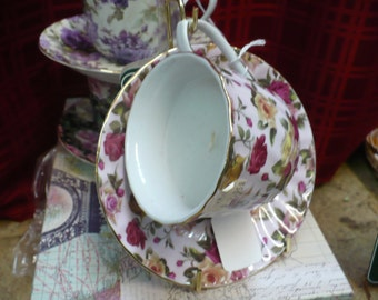 Chintz Tea Cup and Saucer Set with Candle