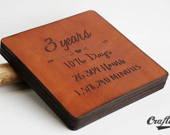 3rd anniversary gift leather, 3 Year Anniversary Gift, Leather Coasters, 3rd Anniversary Gifts for Men, Leather Anniversary for Her, Third