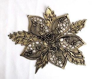 GOLD Foiled Lace Patch Veiled Lace With Gold  Antique gold imace lace Applique