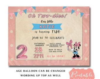 VINTAGE MINNIE MOUSE Birthday Invitation, Minnie Mouse 1st Birthday Invitation, Minnie Mouse 3rd birthday invitation