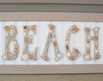 beach decor coastal decor framed beach letters sea shell letters beach house decor coastal wall art beach wall decor framed beach art sign