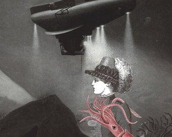 Dr. Plasmoxidus: Surreal Art Steampunk Victorian Sci-Fi Collage Fantasy Gallery Wall Unique Decor Ocean Squid Sea Creature Jelly Fish