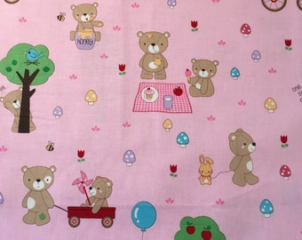 Teddy Bear's Picnic with allover bears on pink fabric from Riley Blake Designs.