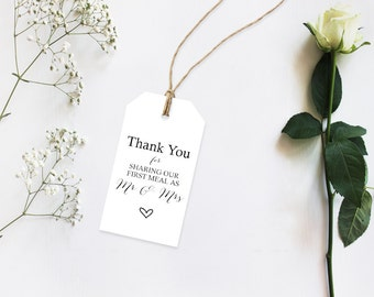 Thank You for Sharing Our First Meal Mr & Mrs- DIY - Printable Tag - Napkin Ties - Wedding Table Decor - Wedding Favors