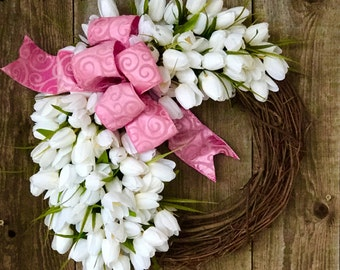 Tulip Spring Wreath-  grapevine - Spring Wreath - Pink and White