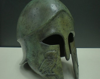 Athena's-Style Helmet Handmade Oxidized Bronze (34cm/13.38 ...  |Athenas Greek Helmet