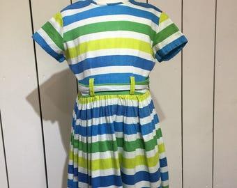 Original 1950's stripey cotton day dress - Fabulous girl's bright cotton day dress