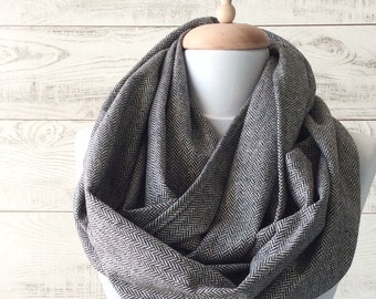 Mens scarf grey scarf infinity scarf wool scarf men accessories infinity scarf loop scarfFAST DELIVERY