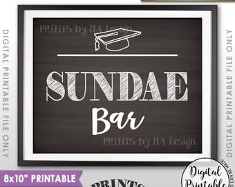 "Sundae Bar Sign, Create Your Own Ice Cream Sundae Graduation Sign, Graduation Party Decor, 8x10"" Chalkboard Style Printable Instant Download"