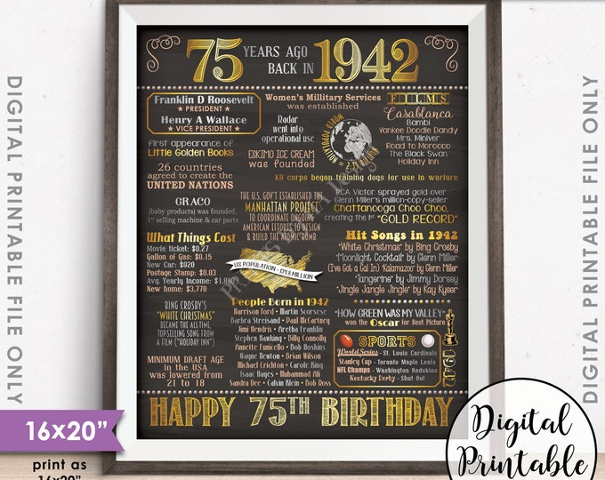"""75th Birthday Gift 1942 Poster, 75 Years USA Flashback Instant Download 8x10/16x20"""" Born in 1942 Birth 75th B-day Chalkboard Style Printable"""