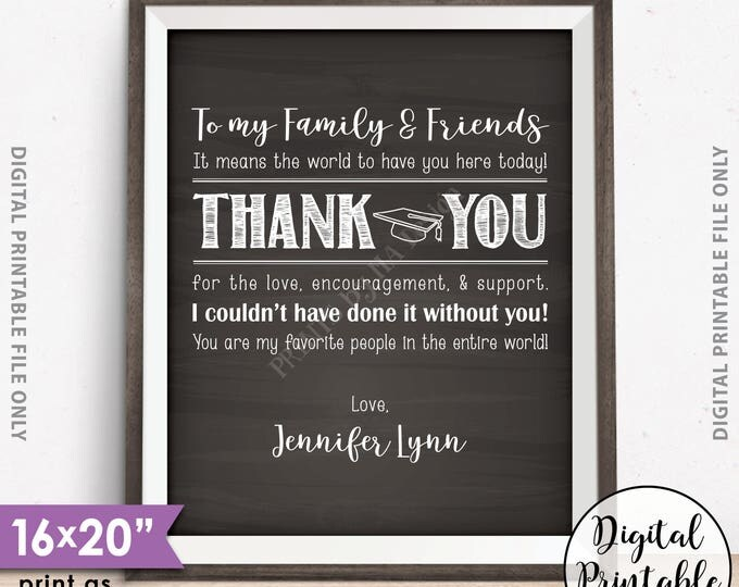 "Thank You Sign, Graduation Party Decoration, Thanks from the Graduate, Thank You Poster, 8x10/16x20"" Chalkboard Style Digital Printable File"