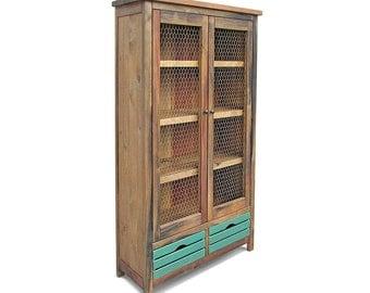 China Cabinet, Bookcase, Farmhouse, Display Cabinet, Reclaimed Wood, Bookshelf, Handmade, Rustic