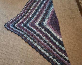 Beautiful Elise shawl in stunning purples, blues cream