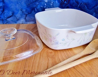 Vintage Corning Ware Pastel Floral Bouquet A-1 1/2-B 1.5 Liter or Quart Covered Casserole 1980s
