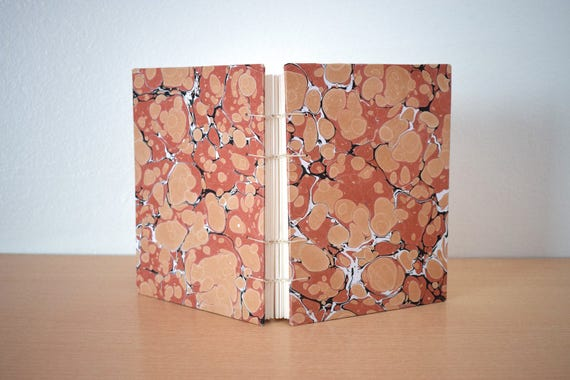 Marbled notebook, Red notebook, Coptic stitch, Notebook for her, Coptic notebook, Colourful notebook, Blank pages notebook