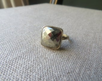 Large Golden Pyrite Faceted Square Ring