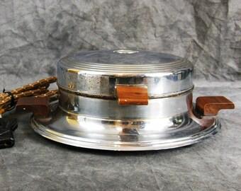 Heatmaster Waffle Maker, Wood Handles, Vintage