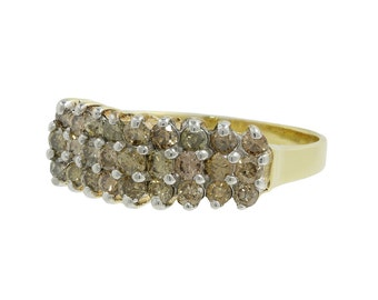 Ladies Classic Estate 10K Yellow Gold Fancy C4 Champagne Diamond Pyramid Ring - 0.72CTW