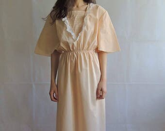 Vintage Light Peach with White Ruffles Maxi Night Gown