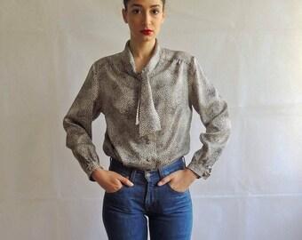 Vintage Silk Ascot Bow Tie Button Up Blouse