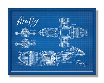 Firefly Serenity Blueprint - Science Fiction & Fantasy - Poster Style Screen Print - Hand Made Wall Art Multiple Colors