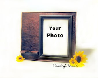 Cell Phone Stand, iPhone Stand, Smartphone Stand, Picture Frame, 5 x 7 Photo Frame, Charging Station, Docking Station, Country Home Decor