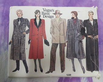 Vogue Basic Coat Pattern 1220 Vintage 90s Uncut Sewing Pattern Size 16