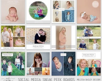 Social Media Sneak Peek Boards- Instagram- Blog | Facebook Collages- Photography Marketing- Instant Download - photoshop template -