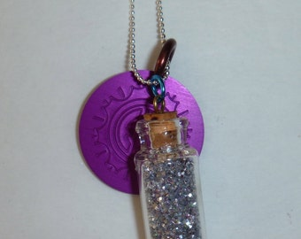 Fairy Dust in Bottle and Tesla Energy Disk Necklace