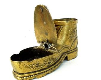 Brass Shoe, Brass Ashtray, Edelweiss Ashtray, Brass Edelweiss, Shoe Ashtray