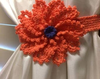 Crochet curtain Tieback- 1 pair orange flower