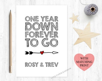 1st anniversary card, 1st wedding anniversary card, 1 year down forever to go, personalised anniversary card, custom anniversary card