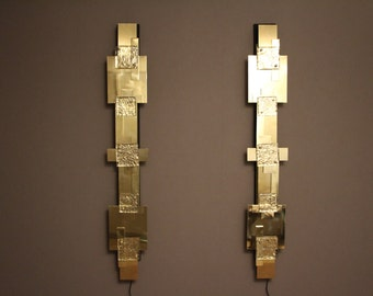 Pair of Long Reggiani Style Polished Brass Wall Light or Sconces