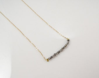 Raw Diamond Necklace • Diamond Necklace • Dainty Gold Necklace • Women's Gift Necklace