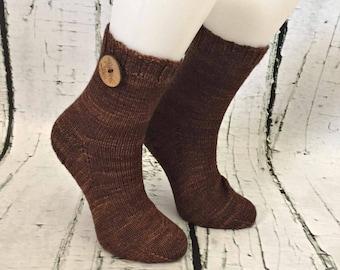 Merino handknit socks for women, size 6-7, handmade in Québec