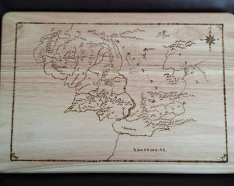 Hand drawn chopping board inspired by Lord of the Rings