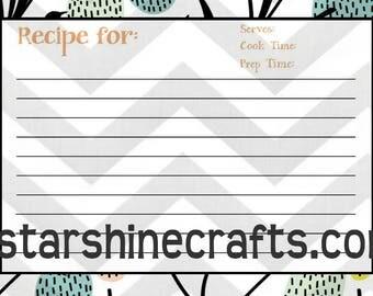 Printable recipe card in retro print - digital download - pdf recipe card