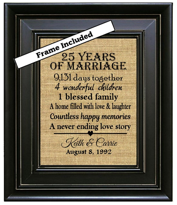 FRAMED 25th Anniversary Gift/25 Years Of By BurlapNGlass