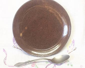 "Handmade THROWN Pottery 6 1/2""D Serving PLATE in Rustic Dark Speckled Brown Glaze - Super for Sandwich, Salad or Light Dinner"