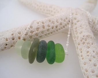 Sea Glass Necklace  - Ombre Shaded - Green -Beach Glass - Recycled - Ombre - Upcycled - Silver - Summer Style - Frosted - Natural